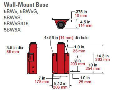 5pf5 wall mount dimensions