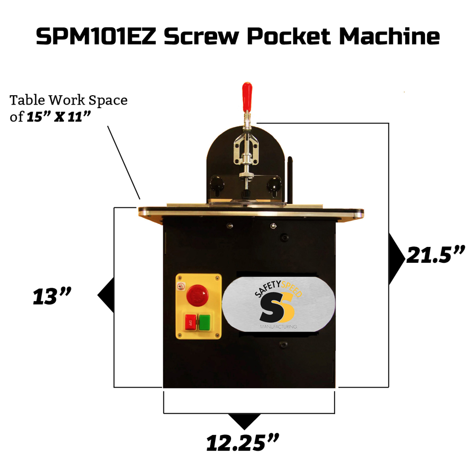 SPM101EZ Screw Pocket Machine dimensions