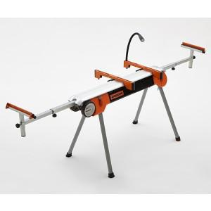 Folding Miter Saw Stand with Wheels Portamate PM-7500. Portable Power Tool Stand with Wheels, LED Light, Quick Tool Mounts, and 4 Outlet 110V Power Strip.