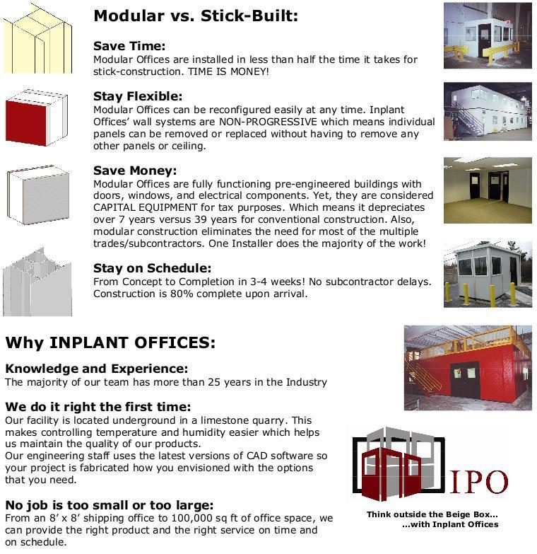 Inplant modular offices for Modular vs stick built