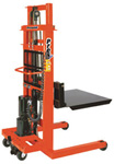 manual & battery powered pallet & material stacker